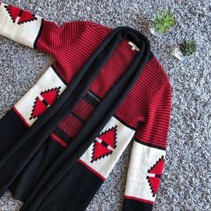 BB Dakota Elijah red/black knit cardigan sweater